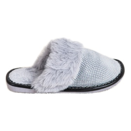 Bona Udobne papuče s krznom siva