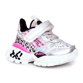 FRROCK Sportske dječje cipele sa čičak srebrom Be Happy siva