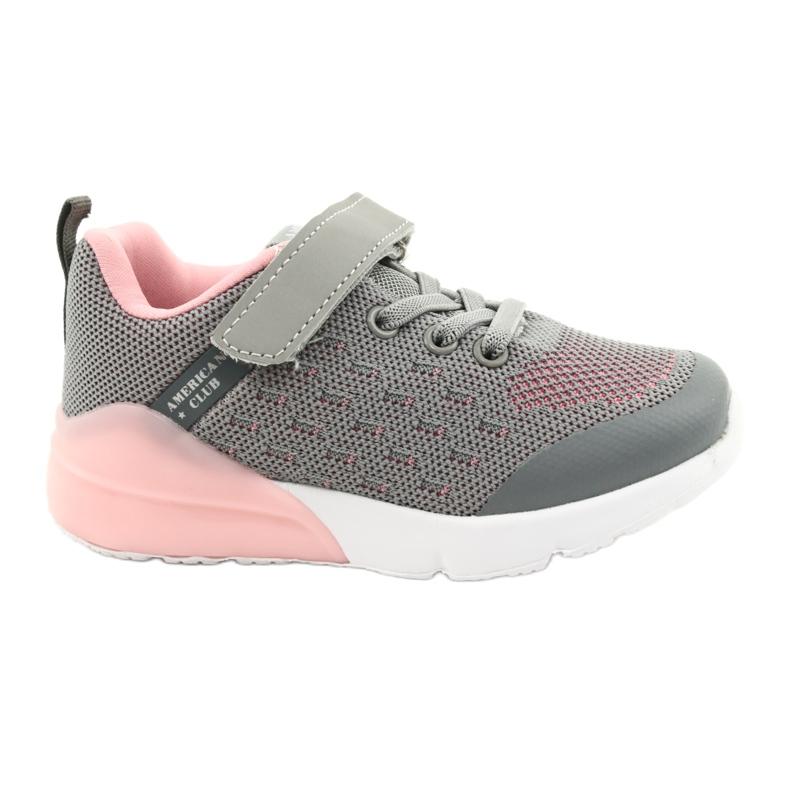 American Club Sportske cipele za djevojčice s čičakom RL12 / 21 Siva ružičasta