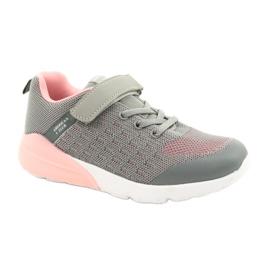 American Club Sportske cipele za djevojčice s čičakom RL11 sivo-ružičasta siva