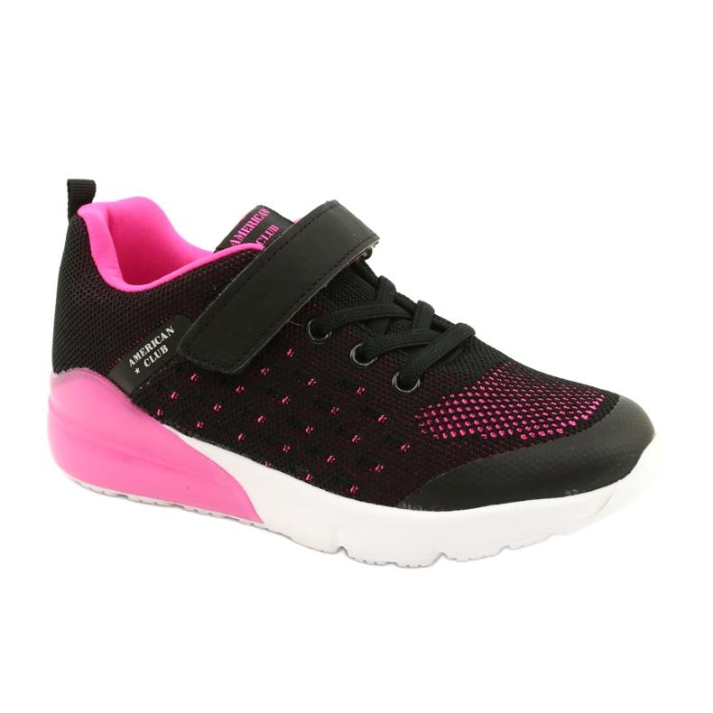 American Club Sportske cipele za djevojčice s čičakom RL11 Crna / Ružičasta crno
