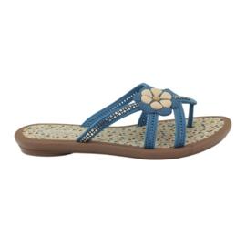 Rider kék Flip flops gyermekcipő virággal a vízbe Grendha