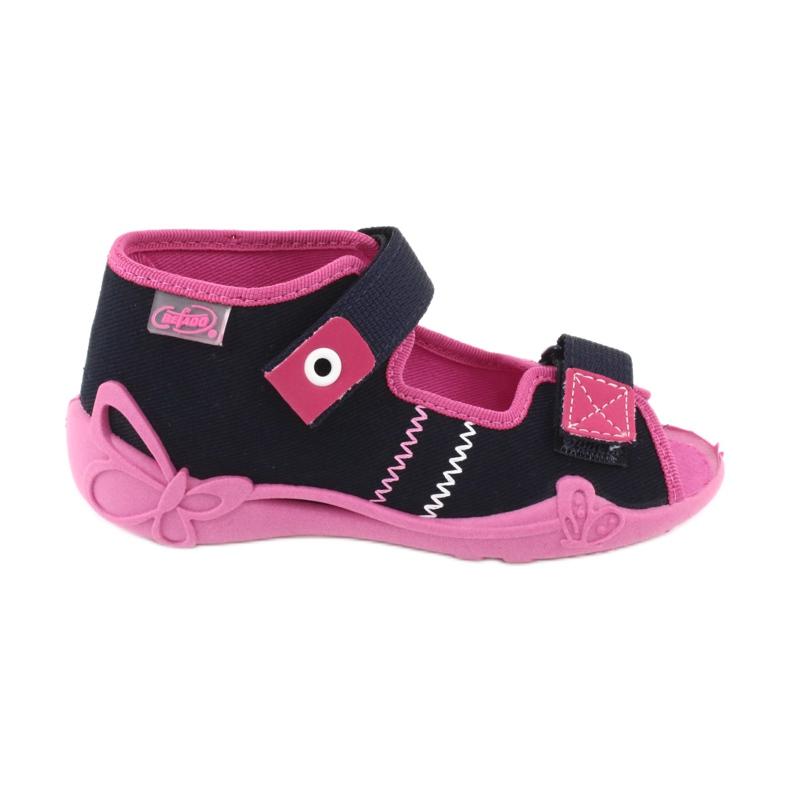 Djevojke papuče repa Befado 242p056 tamnoplava mornarsko plava ružičasta