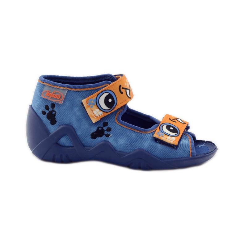 Plave papuče Velcro Befado 250p065 naranča plava