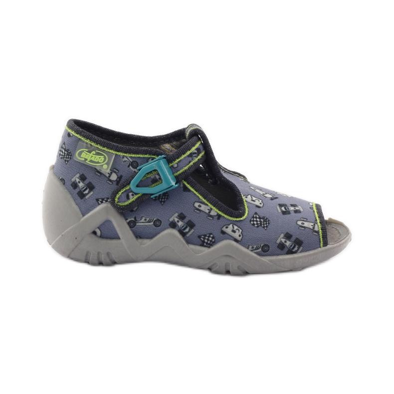 Papuče na lagerima Befado 217p092 zelena siva crno bijela