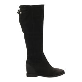 Čizme s ukrasnim patentnim zatvaračem Edeo 3138 crna