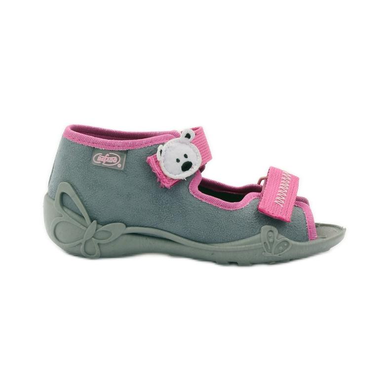 Papuče sandale na čičak cipeli Befado 242p073 ružičasta siva bijela