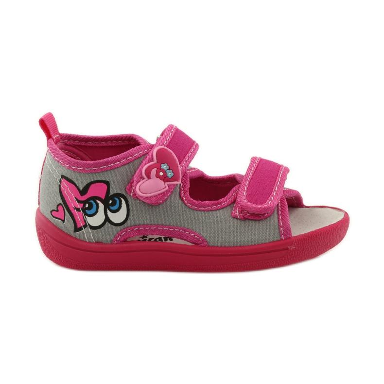 American Club Papuče američke sandale od kože ružičasta siva