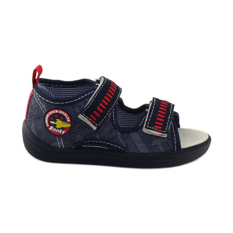 American Club Papuče američke sandale od kože mornarsko plava crvena