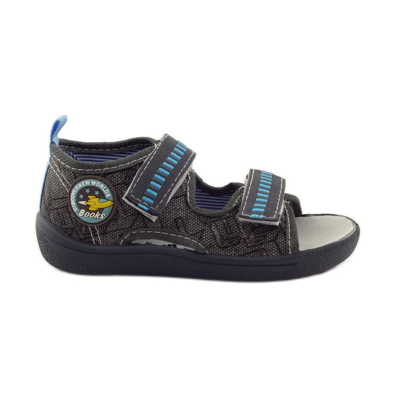 American Club Papuče američke sandale od kože siva plava