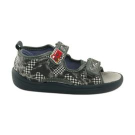 American Club Papuče američke sandale od kože siva bijela