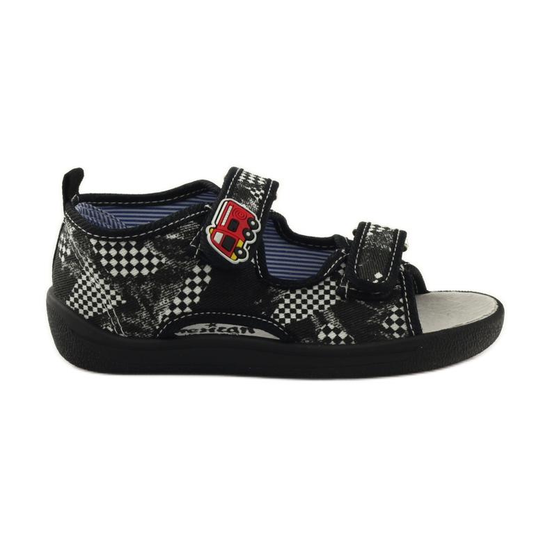 American Club Papuče američke sandale od kože bijela crno