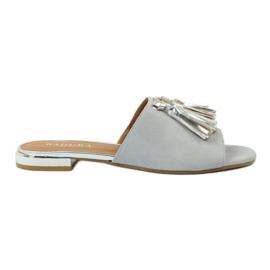 Papuče s resicama Badura 5133 sive siva
