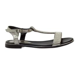 Daszyński siva Sandale s ravnim potpeticama i cirkonima