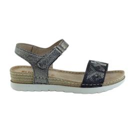 Siva Sandale udobne INBLU srebrno-grafitne