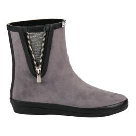 Kylie Suede Wellington čizme s ukrasnim patentnim zatvaračem siva