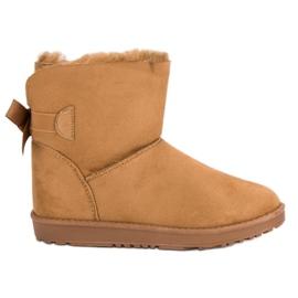 Barna Camel Snow Boots egy íjjal