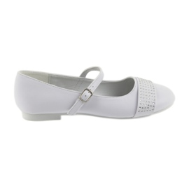 Pumpe dječje cipele Communion Ballerinas rhinestones American Club 11/19 bijela
