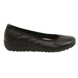 Crna Udobne kožne balerinke Caprice 22150