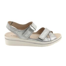 Szürke Caprice szandál női bőr cipő ezüst