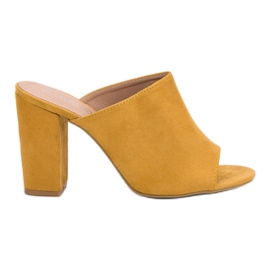 Laura Mode žuti Suede papuče u baru