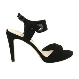 Kožne sandale na pin Edeo 3208 crne crna