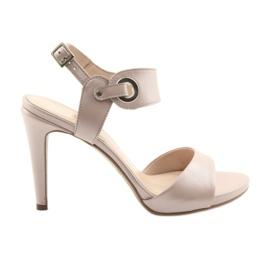 Sandale od kože na pin Edeo 3208 ružičasti prah roze