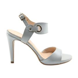 Sandale od kože na igle Edeo 3208 sive siva