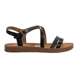 Filippo crna Crne sandale s kristalima
