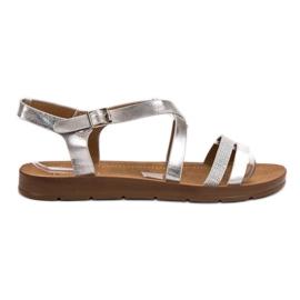 Filippo Srebrne sandale s kristalima siva