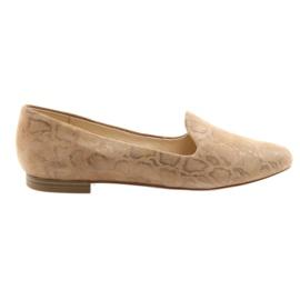 Smeđ Lordsy ženske kožne baletne cipele Caprice 24203 bež