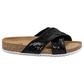 Kylie Crne papuče sa šljokicama crna