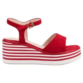 Vinceza Udobne sandale na klin crvena