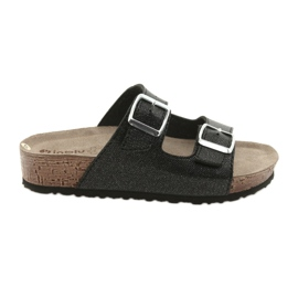 Crna Inblu NM013 crne ženske papuče sa srebrnim flekama
