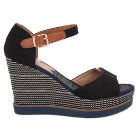 Sandale, klinaste potpetice, crna 9079 Crna