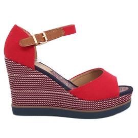 Sandale na klinaste potpetice crvene 9079 Crvene crvena