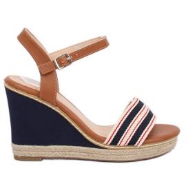 Sandale na klin plavu mornaricu 9068 Plave