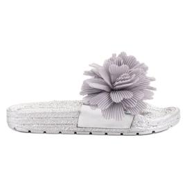 Seastar Sivi papuče s cvijećem siva