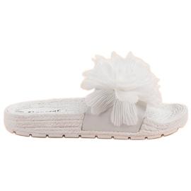 Seastar Bijele papuče s cvijećem bijela