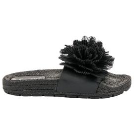 Seastar Crne papuče s cvijećem crna