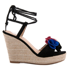 Seastar crna Vezane sandale na klin