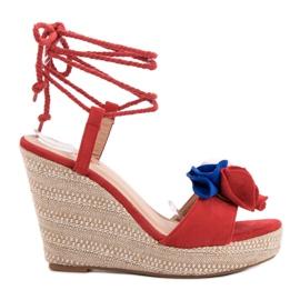 Seastar Vezane sandale na klin crvena