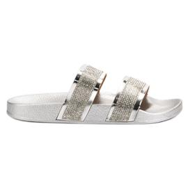Seastar Srebrne papuče s kristalima siva