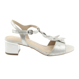 Caprice siva Sandale sa srebrnim kapama