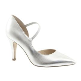 Cipele s remenom Caprice 24402 srebrne siva