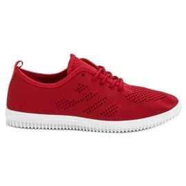 SHELOVET Tekstilna čipkasta obuća crvena