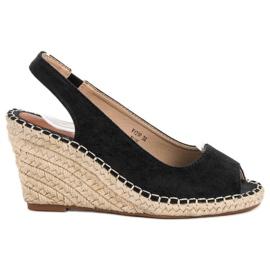 Seastar crna Sandale na klin