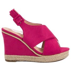 Anesia Paris roze Suede sandale na klin