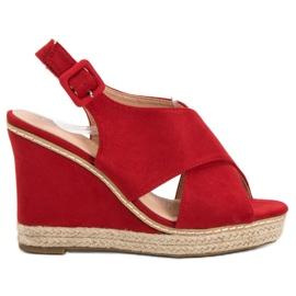 Anesia Paris crvena Suede sandale na klin