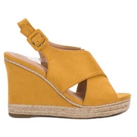 Anesia Paris žuti Suede sandale na klin
